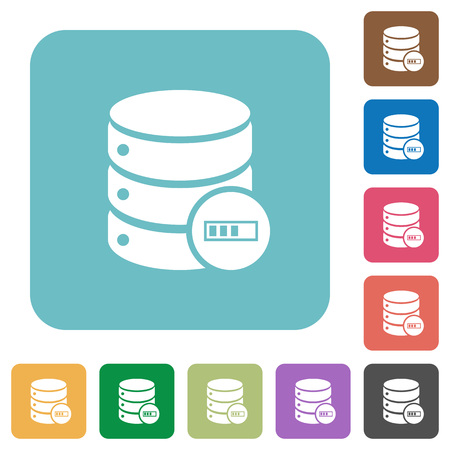 Database processing white flat icons on color rounded square backgrounds