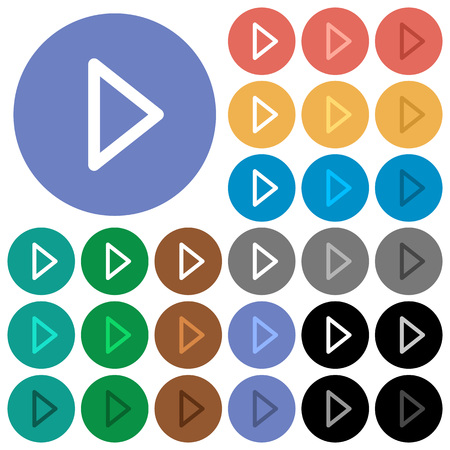 Media play multi colored flat icons on round backgrounds. Included white, light and dark icon variations for hover and active status effects, and bonus shades on black backgounds.