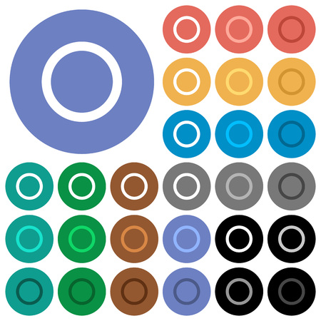 Media record multi colored flat icons on round backgrounds. Included white, light and dark icon variations for hover and active status effects, and bonus shades on black backgounds.