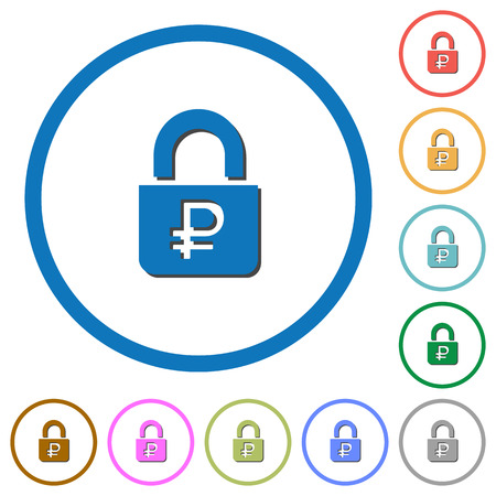 Locked Rubles flat color vector icons with shadows in round outlines on white background