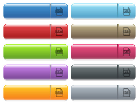 PPT file format engraved style icons on long, rectangular, glossy color menu buttons. Available copyspaces for menu captions.