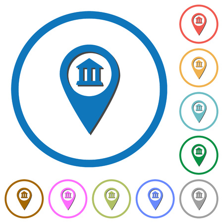 financial position: Bank office GPS map location flat color vector icons with shadows in round outlines on white background