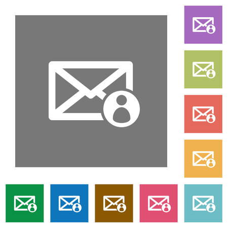consignor: Mail sender flat icons on simple color square backgrounds