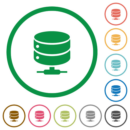 Network database flat color icons in round outlines on white background