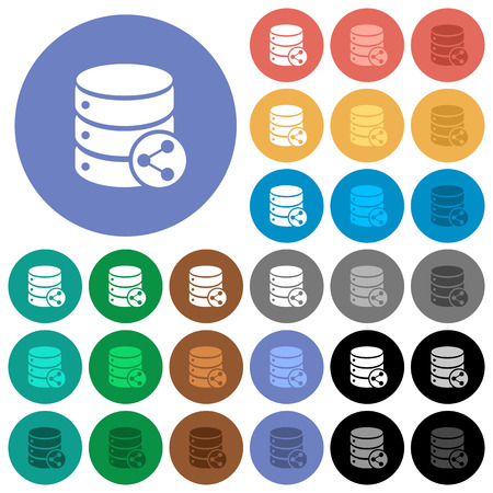 Database table relations multi colored flat icons on round backgrounds. Included white, light and dark icon variations for hover and active status effects, and bonus shades on black backgounds.