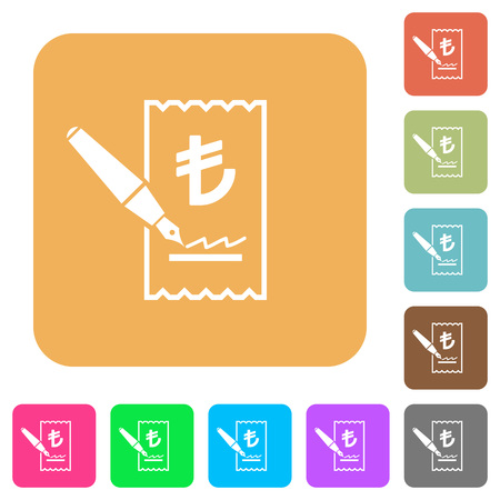 signing papers: Signing Lira cheque flat icons on rounded square vivid color backgrounds.