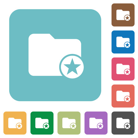 rectangle button: Rank directory white flat icons on color rounded square backgrounds Illustration