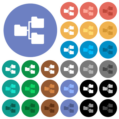 shared sharing: Shared folders multi colored flat icons on round backgrounds. Included white, light and dark icon variations for hover and active status effects, and bonus shades on black backgounds. Illustration