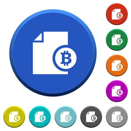 beveled: Bitcoin financial report round color beveled buttons with smooth surfaces and flat white icons Illustration