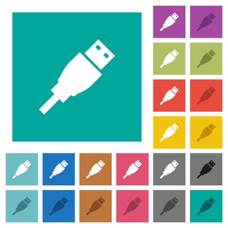 transmit: USB plug multi colored flat icons on plain square backgrounds. Included white and darker icon variations for hover or active effects.