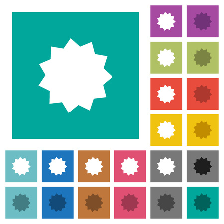 advantages: Certificate sticker multi colored flat icons on plain square backgrounds. Included white and darker icon variations for hover or active effects. Illustration