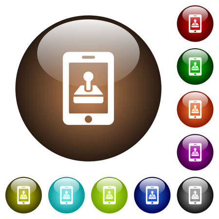 smartphone apps: Mobile games white icons on round color glass buttons Illustration