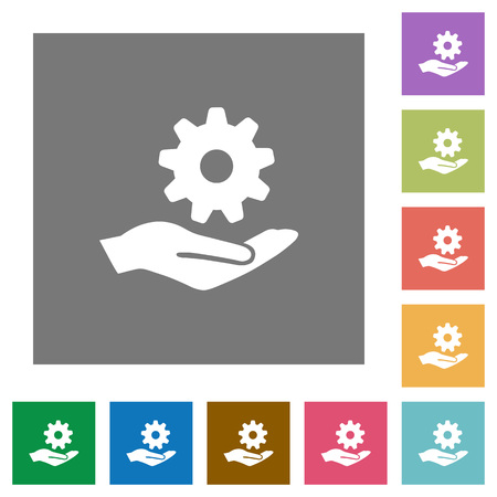 provision: Maintenance service flat icons on simple color square backgrounds Illustration