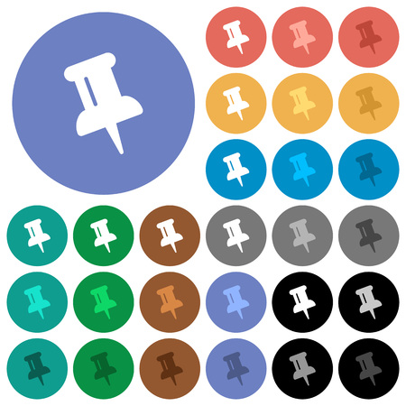 Push pin multi colored flat icons on round backgrounds. Included white, light and dark icon variations for hover and active status effects, and bonus shades on black backgounds.