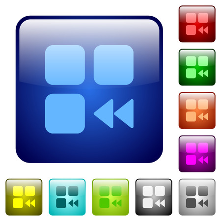 intercommunication: Component fast backward icons in rounded square color glossy button set