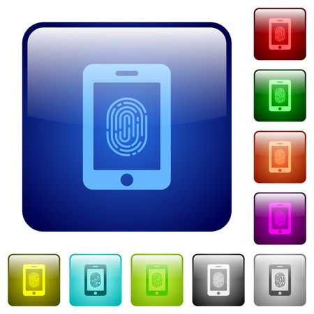 rectangle button: Smartphone fingerprint identification icons in rounded square color glossy button set