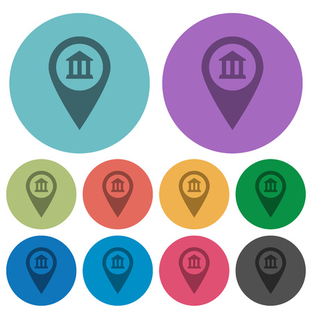 Bank office GPS map location darker flat icons on color round background Illustration