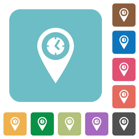 Arrival time GPS map location white flat icons on color rounded square backgrounds