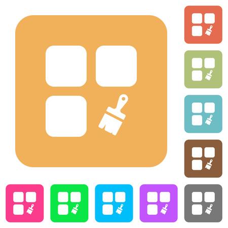 Component paste flat icons on rounded square vivid color backgrounds. Illusztráció