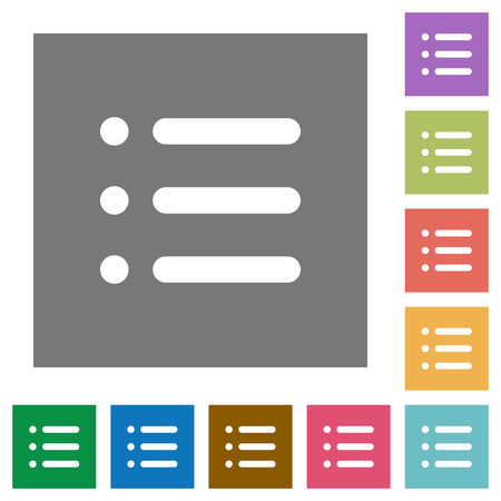 Unordered list flat icons on simple color square backgrounds Ilustração