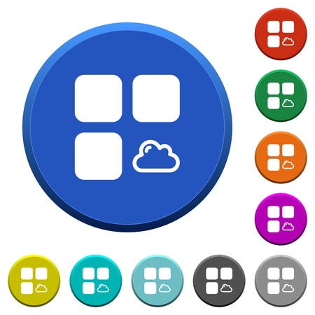 matching: Cloud component round color buttons with smooth surfaces and flat white icons. Illustration