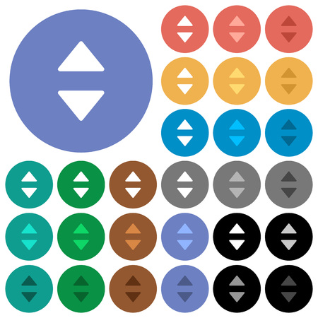 polychrome: Vertical control arrows multi colored flat icons on round backgrounds. Included white, light and dark icon variations for hover and active status effects, and bonus shades on black backgounds. Illustration