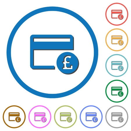 pictograph: Pound credit card flat color vector icons with shadows in round outlines on white background Illustration