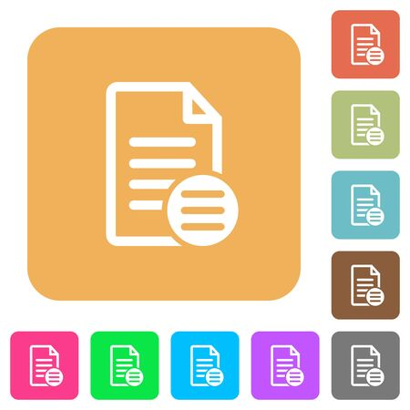 select: Document options flat icons on rounded square vivid color backgrounds. Illustration