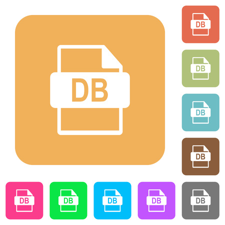 DB file format flat icons on rounded square vivid color backgrounds.