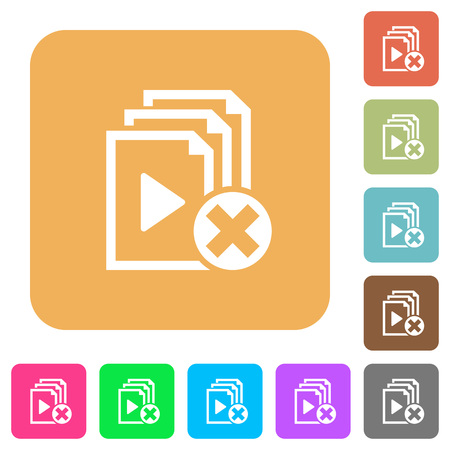 Cancel playlist flat icons on rounded square vivid color backgrounds.