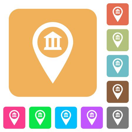 Bank office GPS map location flat icons on rounded square vivid color backgrounds.