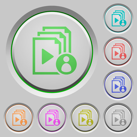 author: Playlist author color icons on sunk push buttons Illustration