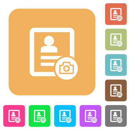 phonebook: Contact profile picture flat icons on rounded square vivid color backgrounds. Illustration