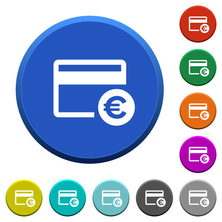 ledge: Euro credit card round color beveled buttons with smooth surfaces and flat white icons