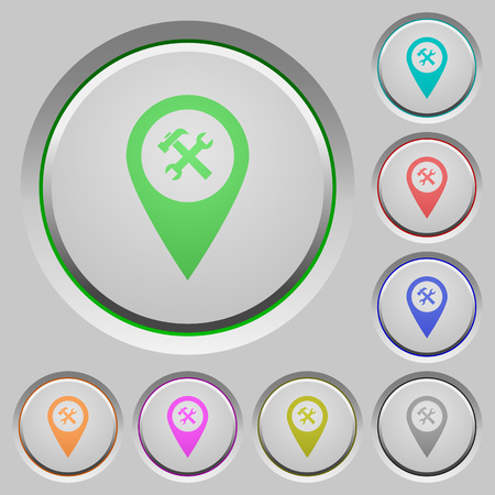 labeling: Workshop service GPS map location color icons on sunk push buttons