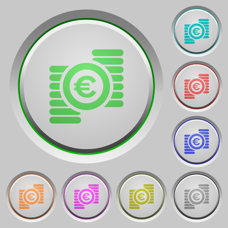 bevel: Euro coins color icons on sunk push buttons