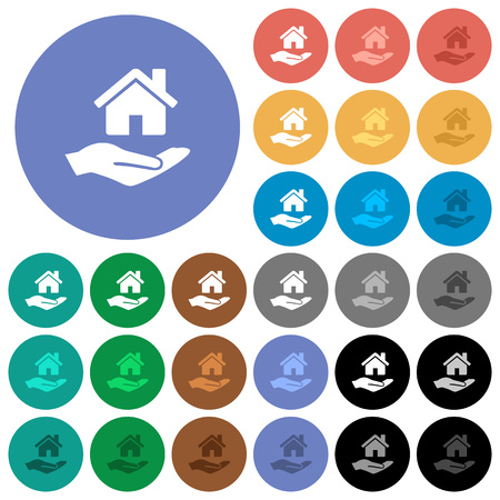 Home insurance multi colored flat icons on round backgrounds. Included white, light and dark icon variations for hover and active status effects, and bonus shades on black backgounds.