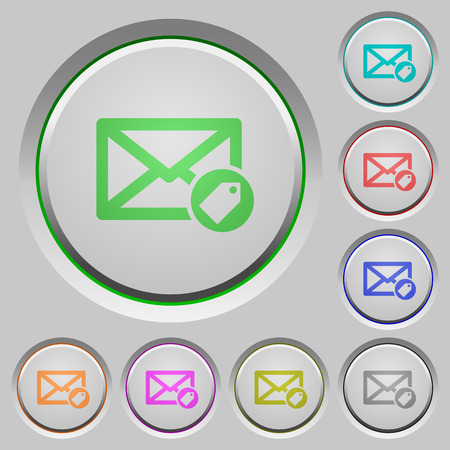 Tagging mail color icons on sunk push buttons Illustration