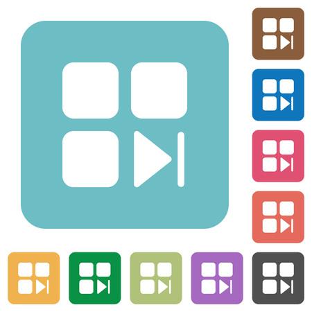 Component next white flat icons on color rounded square backgrounds Illusztráció