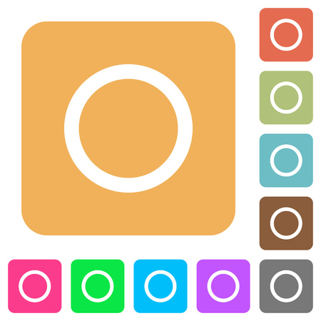 Media record flat icons on rounded square vivid color backgrounds. Çizim