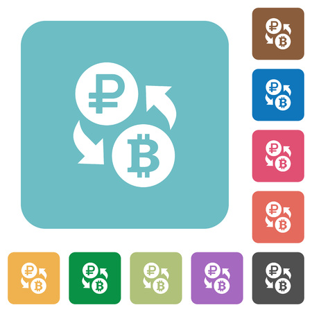 Ruble Bitcoin money exchange white flat icons on color rounded square backgrounds
