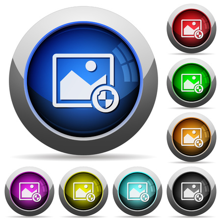 placeholder: Protect image icons in round glossy buttons with steel frames Illustration