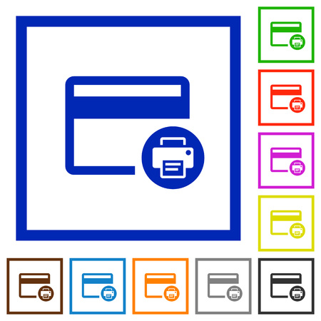 bankcard: Credit card print record flat color icons in square frames on white background Illustration