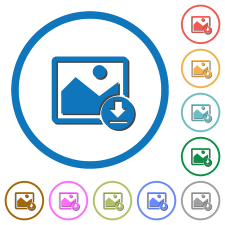 simple frame: Download image flat color vector icons with shadows in round outlines on white background