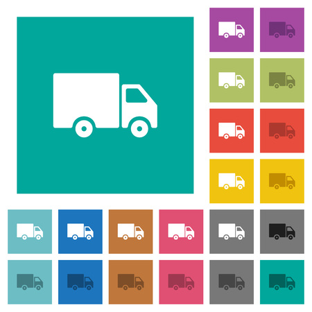 Delivery truck multi colored flat icons on plain square backgrounds. Included white and darker icon variations for hover or active effects. Illustration