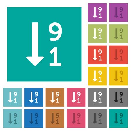 descending: Descending numbered list multi colored flat icons on plain square backgrounds. Included white and darker icon variations for hover or active effects. Illustration