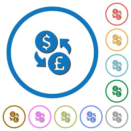 pictograph: Dollar Pound money exchange flat color vector icons with shadows in round outlines on white background