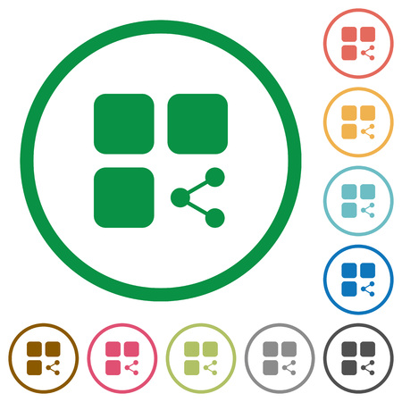 intercommunication: Share component flat color icons in round outlines on white background