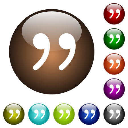 Quotation mark white icons on round color glass buttons Illustration