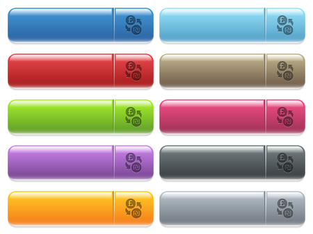 Pound Shekel money exchange engraved style icons on long, rectangular, glossy color menu buttons. Available copyspaces for menu captions. Illustration